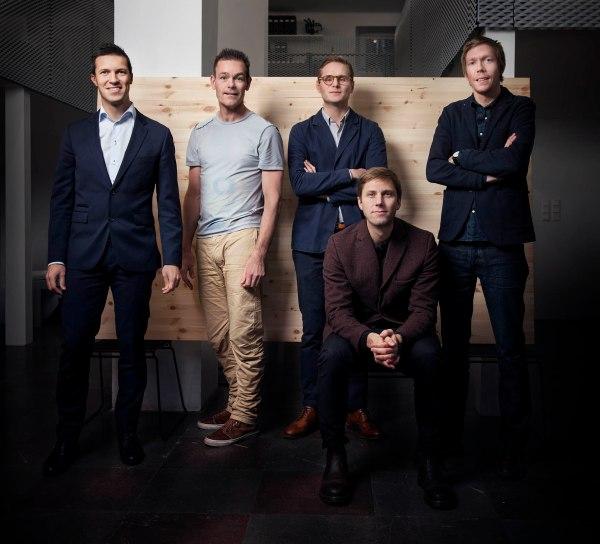 The BAUX founding partners From left: Fredrik Franzon, Johan Ronnestam, Petrus Palmér, Jonas Pettersson, John Löfgren